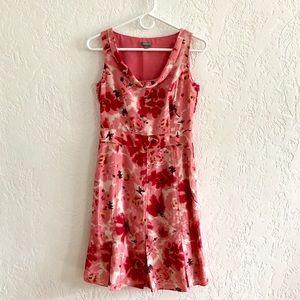 Ann Taylor 100% Silk Pink Floral Dress 2P